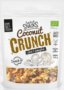 Chipsy Kokosowe Coconut Crunch z Chia i Dynią BIO 150g - Diet Food